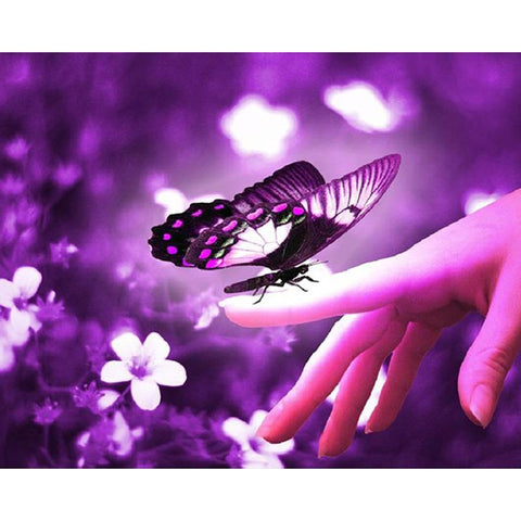 Image of Butterfly on a Hand - DIY Diamond  Painting