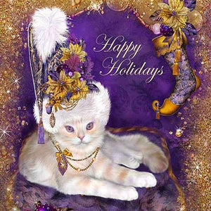 Happy Holidays from a Fancy Cat - DIY Diamond Painting