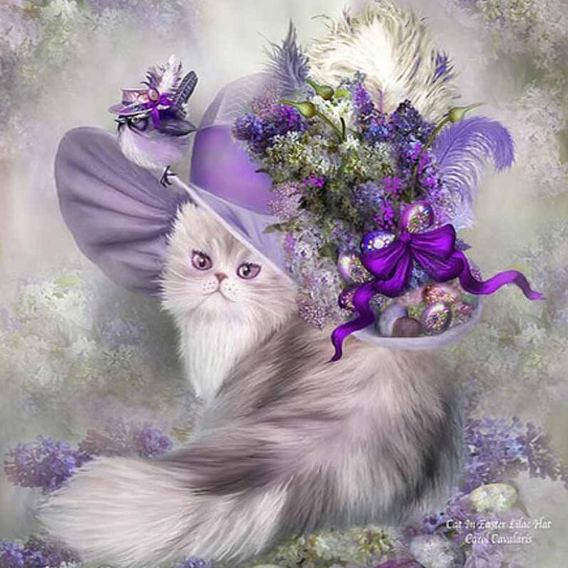 Fancy Cat in Lavender - DIY Diamond Painting