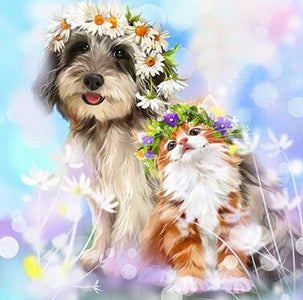 Dog and Cat with Flower Crown - DIY Diamond Painting