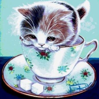 Image of Kitten in a Tea Cup - DIY Diamond Painting