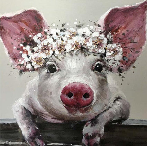 Image of Pig with Flower Crown - DIY Diamond Painting