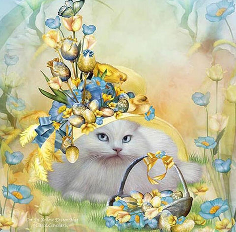 Image of Flowery Cat in a Yard - DIY Diamond Painting