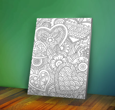 Image of Hearts - Coloring Canvas