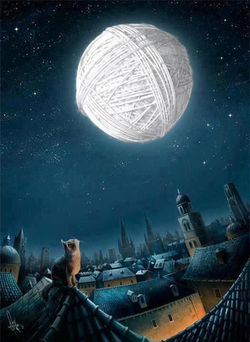 Image of Yarn Ball as Moon - DIY Diamond Painting
