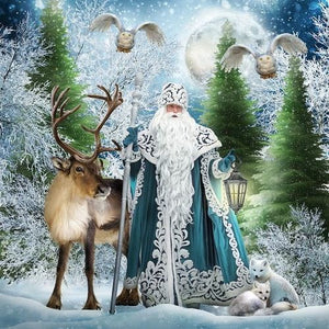 White Santa in the Forest - DIY Diamond Painting