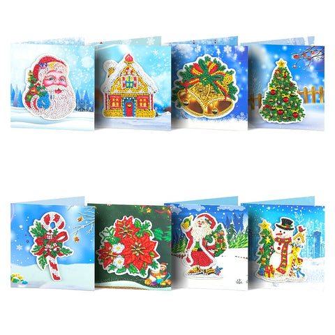 Christmas Set #6 (8pcs) - DIY Diamond Painting Christmas Cards