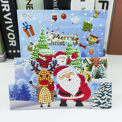 Santa and Reindeer - Diamond Painting Folding Card