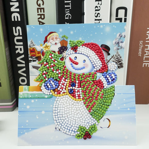 Happy Snowman - Diamond Painting Folding Card