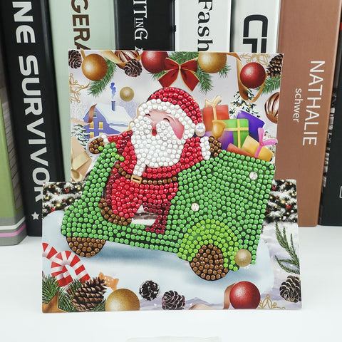Santa in Sleigh - Diamond Painting Folding Card