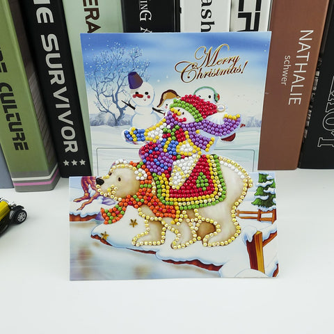 Snowman Riding Polar Bear - Diamond Painting Folding Card