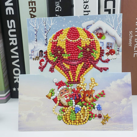 Santa in a Hot Air Balloon - Diamond Painting Folding Card