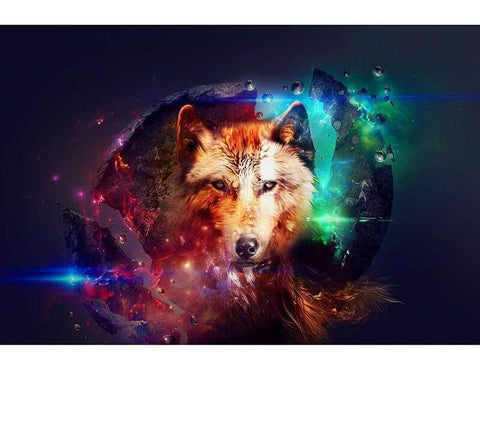 Image of Neon Color Wolf - DIY Diamond Painting