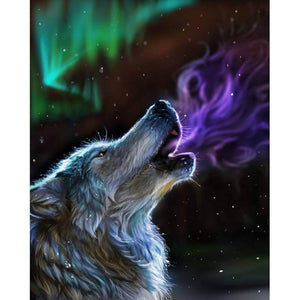 Wolf howling - DIY Diamond Painting