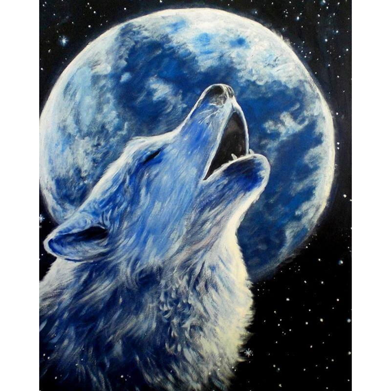 Wolf howls at the moon - DIY Diamond  Painting