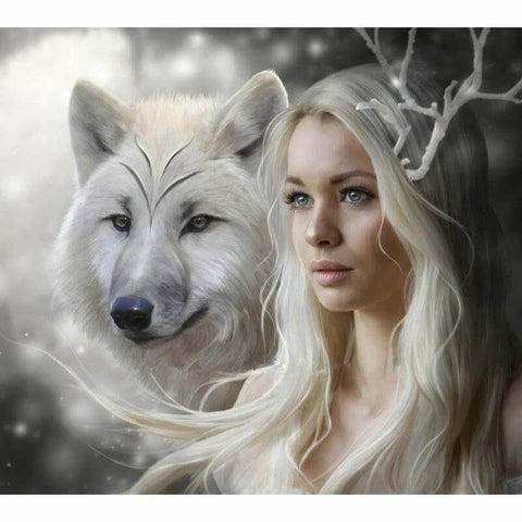 Image of girl and wolf painting
