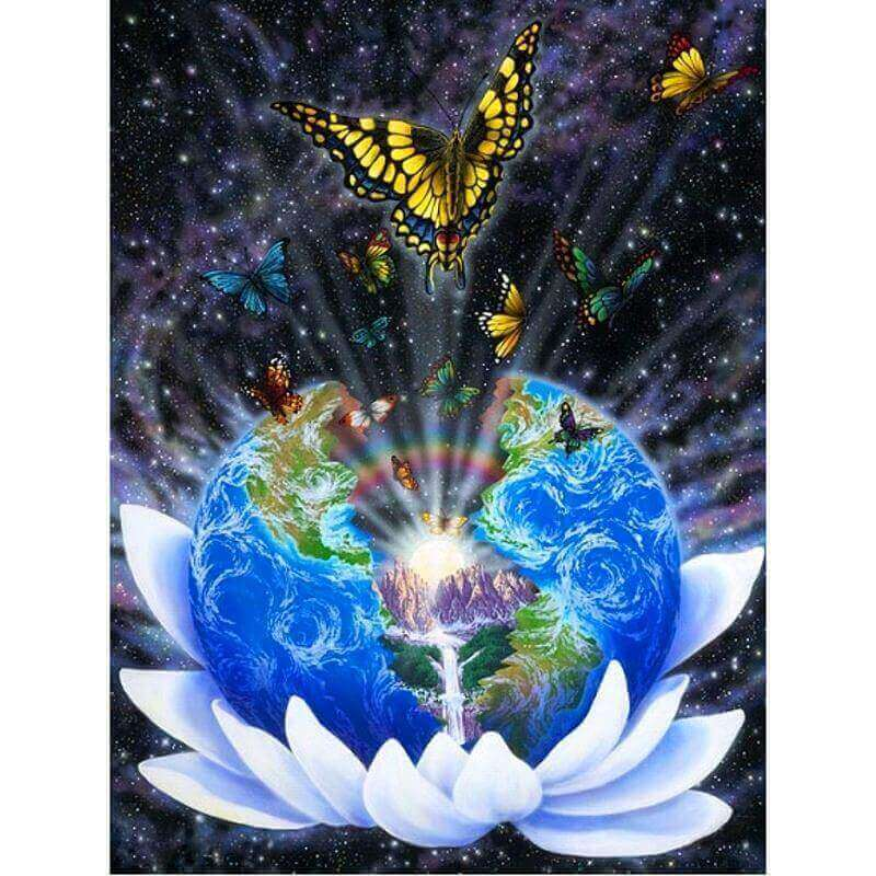 Earth and Butterfly - DIY Diamond Painting