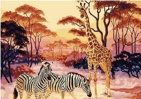 Image of Giraffe & Zebras in the Wild -  DIY Painting By Numbers