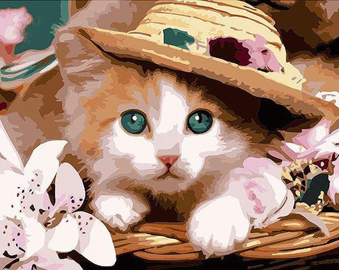 Image of Cute Cat with Hat- DIY Painting By Numbers