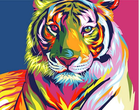 Image of Colourful Tiger Abstract - DIY Painting By Numbers