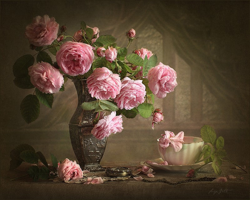 Pink Rose in a Vase - DIY Painting By Numbers