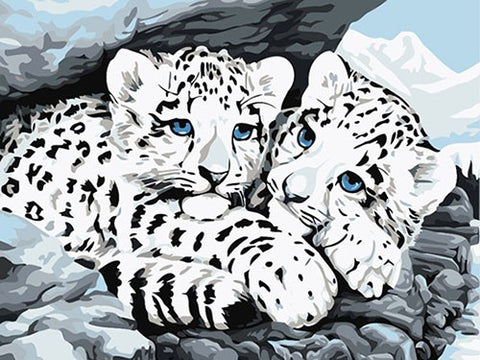 Image of White Tigers in the Snow - DIY Painting By Numbers