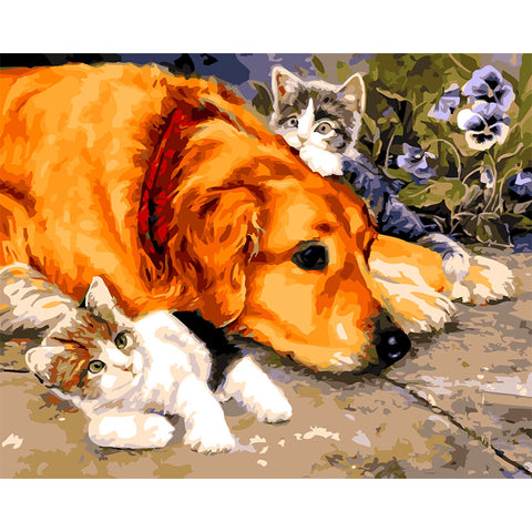 Image of Dog with Cats - DIY Painting By Numbers
