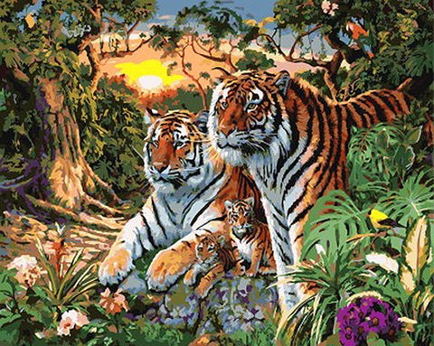 Image of Tigers Family - DIY Painting By Numbers