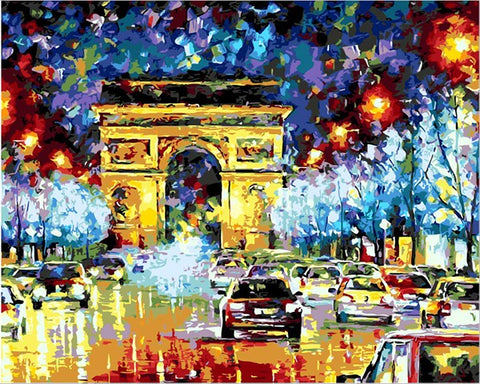 Image of Arc de Triomphe at Night -  DIY Painting By Numbers