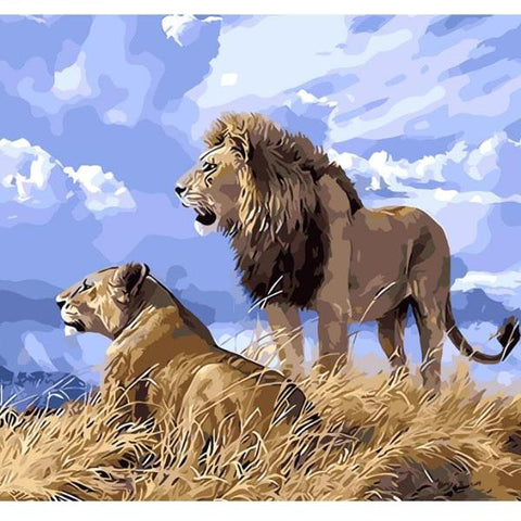 Image of Lions in The Nature - DIY Painting By Numbers Kit