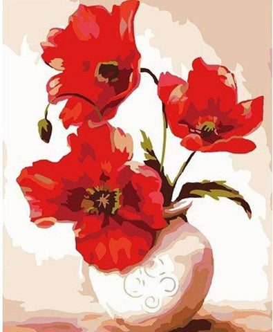 Image of Red Flowers in a Vase - DIY Painting By Numbers