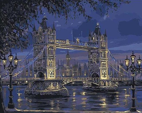 Image of London Bridge at Night - DIY Painting By Numbers