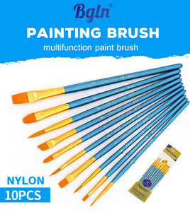 Set of 10 Pcs Nylon Paint Brushes