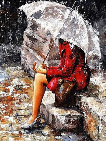 Girl in the Rain - Painting By Numbers