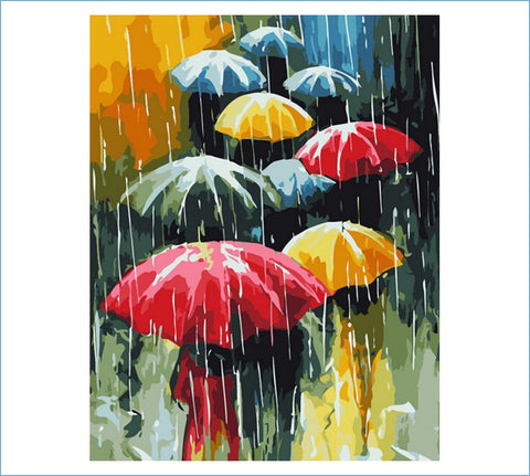 Image of Walking in the Rain - DIY Painting By Numbers
