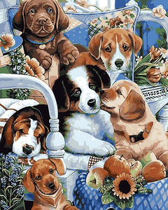 Lovely Puppies - DIY Painting By Numbers