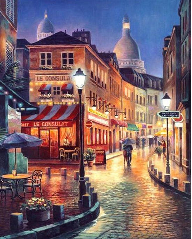 City Street at Night- DIY Painting By Numbers