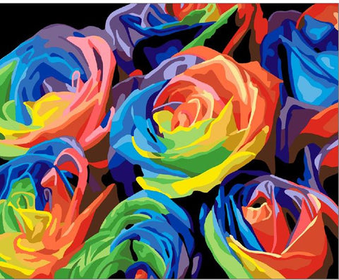 Image of Abstract Colourful Roses - DIY Painting By Numbers