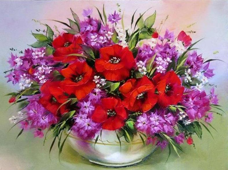 Red And purple Flowers - DIY Painting By Numbers – Colorelaxation