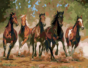 Running Horses in the Wild - DIY Painting By Numbers