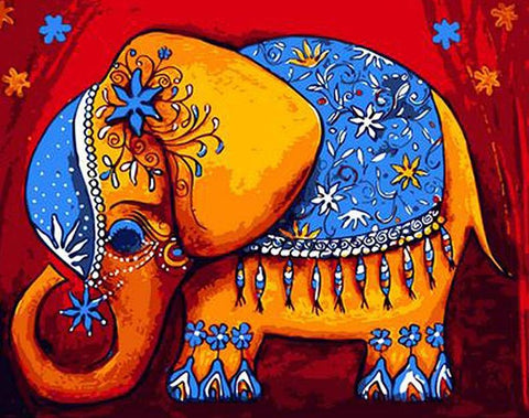 Image of Colourful Elephant - DIY Painting By Numbers