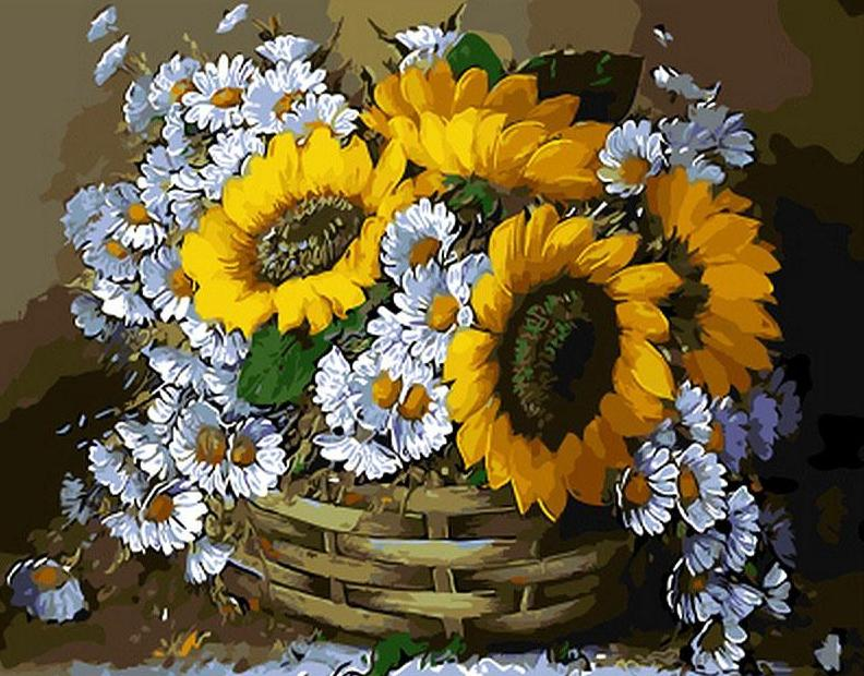 Sunflowers in a Basket - DIY Painting By Numbers