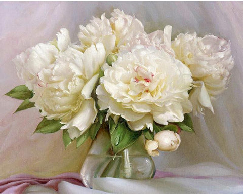 Image of White Flowers in a Vase - DIY Painting By Numbers