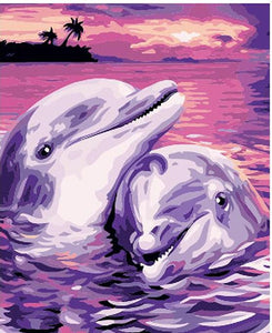 Dolphins - DIY Painting By Numbers