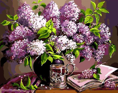 Image of Purple Flowers in a Vase - DIY Painting By Numbers