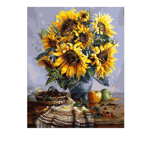 Image of Sunflowers in a Vase - DIY Painting By Numbers
