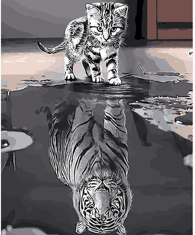 Image of Cat or Tiger ? -  DIY Painting By Numbers