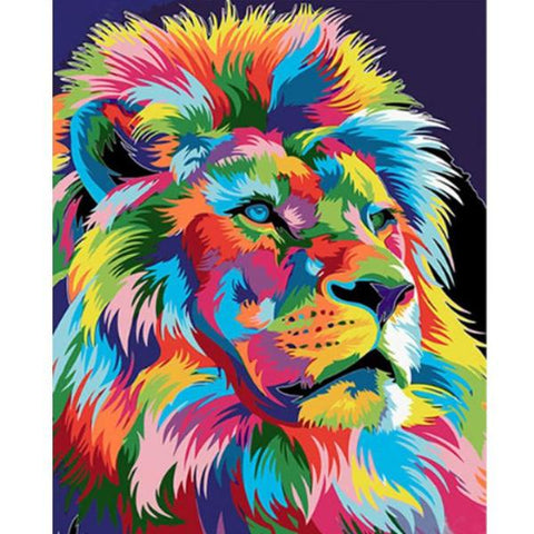 Image of Colourful Abstract Lion - DIY Painting By Numbers