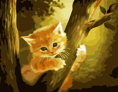 Image of Cat climbing on a Tree- DIY Painting By Numbers