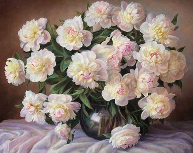 Light Pink Flowers - DIY Painting By Numbers
